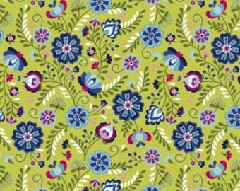 Juxtaposey Posey Main in Green Riley Blake Fabric