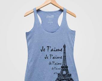 PARIS Eiffel Tower Tank Top Triblend Racerback Tank Top Hand Screen Print