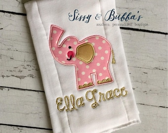Personalized Girly Elephant Burp Cloth, baby shower gift, pink and gold, burp rag, diaper