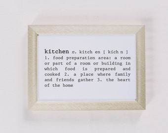 Calligraphy Print, Kitchen Definition