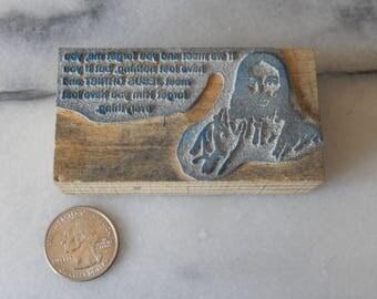 Vintage Letterpress Printing Block Jesus