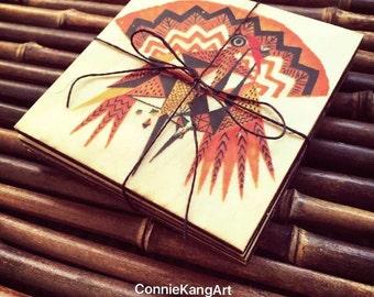 Bird Coaster set_Wood Print_Gift_4 Pieces