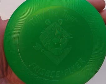 "1989 Tony The Tiger Frisbee Flyer 3-3/4"" Green 1989 Kellogg Company Cereal Prize Frosties Mini Frisbee"