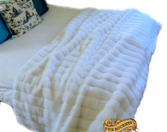 Plush Faux Fur Throw Blanket Bedspread - Super Soft - Ribbed Channel Mink White -Off White - Fur Minky Cuddle Fur Lining - Fur Accents - USA