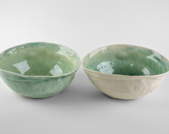 Blue celadon breakfast bowls -set of 2 - modern ceramic hand made in Spain