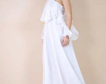 RUFFLE MAXI DRESS | Flowing Gown | Gorgeous for Bridesmaids and Brides | Pretty for Special Events | Available in Many Fabrics and Colors