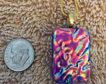 "Vintage Dichroic Glass Pendant, Art Glass Necklace, Fire Opal Color, Melted Dichroic Glass, Necklace, 18"" Gold Chain"