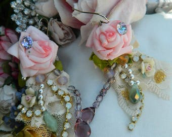 sold Ornate fairytale earrings, crystal and roses, spring time