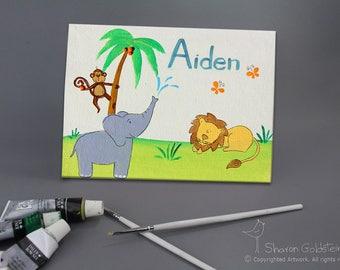 Jungle Safari Animals Elephant Monkeys Lion Giraffe Zebra Babies Bedroom Nursery Kids DOOR SIGN Wall Art kids door sign baby BOY sign