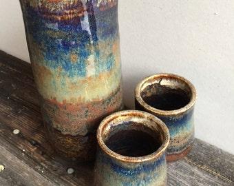 Sake set handmade pottery wheel thrown  ceramic carafe and two sake cups decanter
