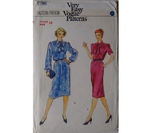 "UNCUT Vintage 80's Vogue 7740 Very Easy Sewing pattern Bow Blouse Shirt Dress Bust 32.5"" UK 10"
