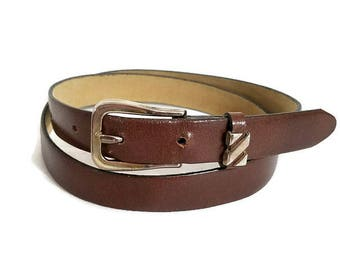 Brown Belt Woman's Size Small or Medium Gold Buckle