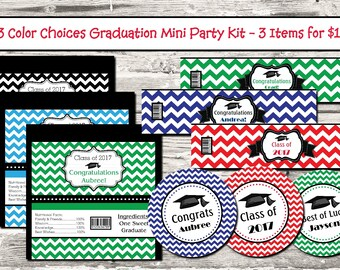 23 Color Choices Chevron Graduation Mini Party Pack Candy Wrapper Water Bottle Label Digital Printable