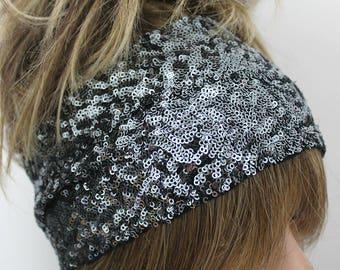 Silver headband, Silver gray headband, Sequin headband, Wedding headband, Handcrafted silver headband, Unique headband, Costume hairband