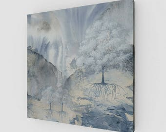 Misted Trees One Print on Canvas or Wood, 12x12  16x16  20x20  24x24, ready to hang