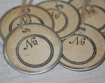 Round Tags - Blank Number Tags - Metal Rimmed Tea Stained gift tags
