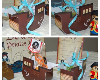 Personalized Printable Pirate Ship Party Favor Box