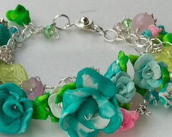 Hand Crafted Polymar Roses with Rose Quartz and Swarovski Crystals