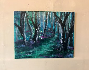 SHOP SALE! Dance of the Fireflies Original Acrylic Stretched Canvas Painting with FREE Matching Book