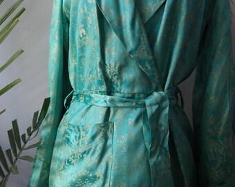 VINTAGE 1970s Japanese Silk Brocade Dressing Gown