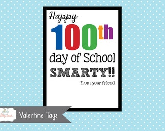 100th Day of School Smarty Tag (Instant Download)
