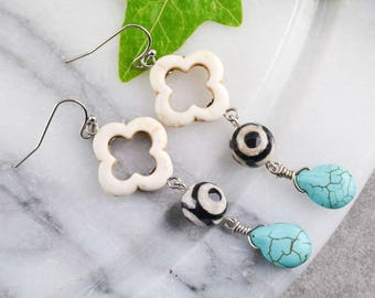 Earrings long clover - turquoise earrings - earrings agate - Earrings bohemian - ethnic jewelry - gift for her - birthday gift - bride gift