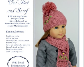PDF Knitting Pattern #SS2016-K06. Owl Hat and Scarf for 18-inch dolls like American Girl®, Florrie, Gotz, Carpatina.