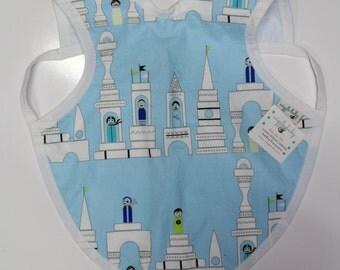 Castle Blocks Bapron, Full Coverage Apron Bib, Art Smock, Baby Toddler Apron Bib, Messy Boys Bib