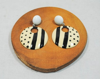 Black and White Stripes and Dots Earrings