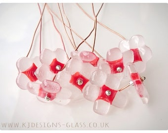 Red fused glass flowers