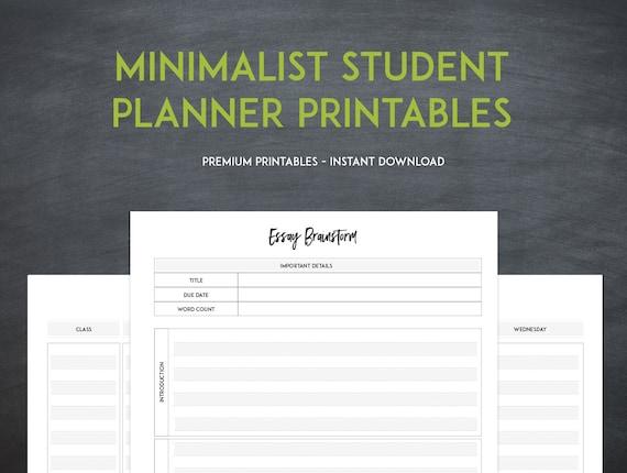 Minimalist Classroom Worksheets ~ Minimalist student planner instant download printables