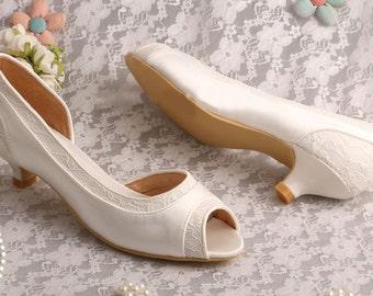 SALE!!! Custom handmade ivory Lace Bridal wedding satin Peeptoe dorsay low heels- LAST ONE!!!