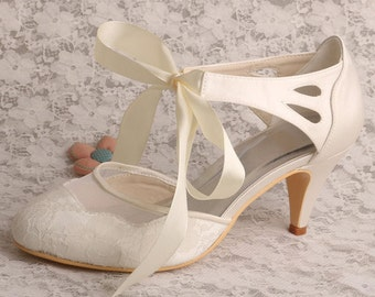 Custom handmade ivory white satin bow tie front mid heel bridal wedding lace mesh ankle mary jane dorsay court