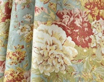 Waverly Floral Curtains.Waverly Ballad Bouquet Robins Egg Curtains. 2 Panels of 50x84. Shabby Chic Curtains. Pillows. Girls Bedroom Curtains