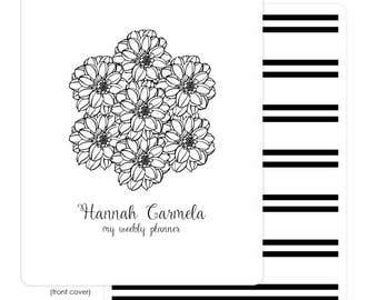 Interchangeable Planner Cover – Removable Front and Back Cover | Black and White Bouquet