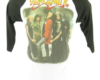Vintage 80s Aerosmith Band T-Shirt Mens L 50/50 Permanent Vacation Tour Thin [H66Z_0-6]