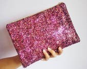Dark Pink  Maroon Clutch Bag Glitter Evening Bag Sparkly Pink Clutch Bag Maroon Glitter Party Bag Pink Glitter Clutch