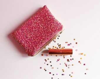 Pink & Rose Gold Glitter Coin Purse, Sparkly Pink Mini Zipped Purse, Glitter Card Holder, Pink Glitter Purse, Sparkly Coin Purse,