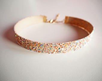 Pink Iridescent Glitter Choker, Sparkly Pink Choker Necklace, Iridescent Choker, Pink Glitter Necklace, Iridescent Glitter Necklace,