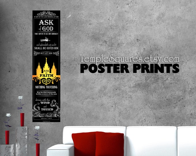 """LARGE posters print Ask of God Ask in Faith James 1 5-6  YW 2017 mutual theme. UV archival ink printed poster. 1x4 ft or 9""""x36"""" sizes"""