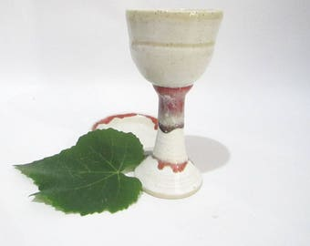Wine Cup, Wine Goblet, Kiddish Cup, Pottery Wine Chalice, Handmade Cup in Red and White Stoneware