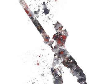 Cloud Strife, Final Fantasy ART PRINT 2nd Edition illustration, Gaming, Home Decor, Wall Art