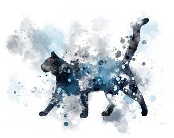 Cat ART PRINT 'Midnight Cat' Illustration, Cat, Animal, Wall Art, Home Decor