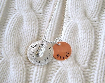 My Little Peanut Necklace- Mom Personalized Hand Stamped- New Baby- Gift for Mom- Sterling Silver