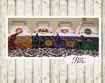 Justice League party favor box, Justice League gable box, 10 Justice League party favor gable box, Batman favor box