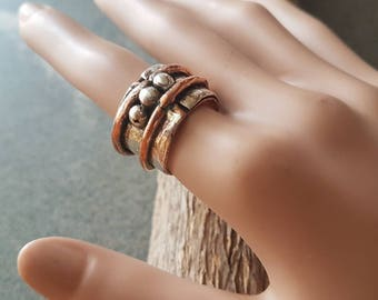 Mayan Ring / Mayan Series /Band Ring /Copper and Silver/Primitive Ring /Unique /Artisan Jewelry
