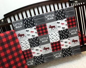 Lumberjack Baby Toddler Quilt & Fitted Sheet, Crib Bed Set, Grey Red Black Bedding, Boy Bedding, Woodland Bed Set, Moose Lumberjack Nursery