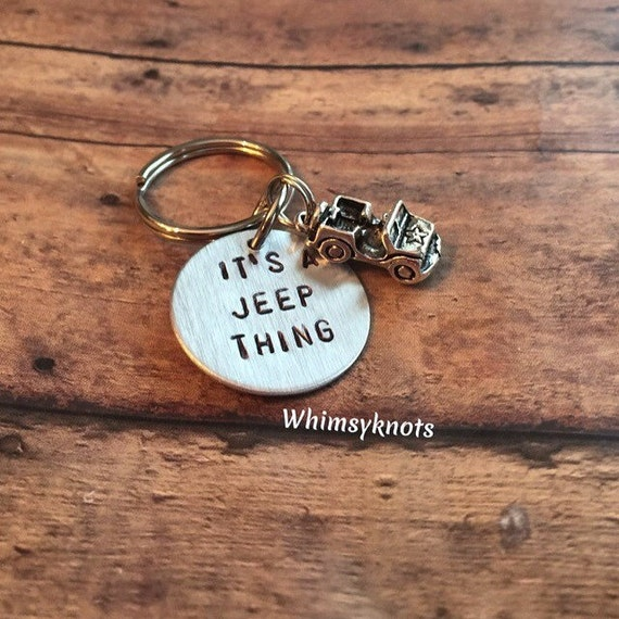 Jeep Charm keychain-its a jeep thing: keychain/ accessories. Hand stamped.