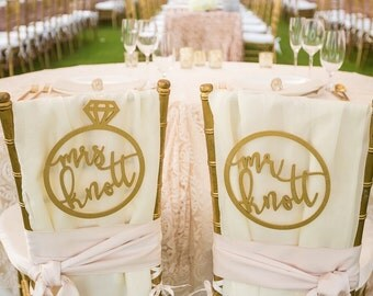 "Personalized Mr & Mrs Ring Chair Signs 10""D inches, Custom Wedding Ring Chair Name Sign, Laser Cut Last Name Sign, Personalized Chair Backs"