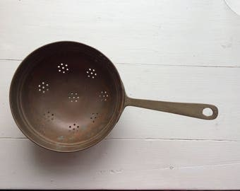 Awesome  little vintage copper, brass handled  colander/Sieve